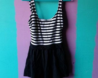 Vintage Black and White 1980's Unitard Dress size 10 / medium