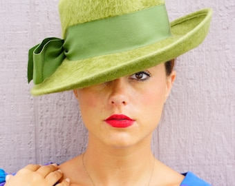 Vintage Merrimac Merri Soie Hat, Vintage Mod Hat, 60s Hat, Wide Brim Hat, Vintage Millinery, Vintage Fedora Hat, Felt Fur Hat, Vintage Hat