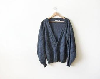 90s cardigan - mohair cardigan - grunge cardigan - oversized cardigan - baggy cardigan - charcoal gray - chevron print - 90s clothing - L