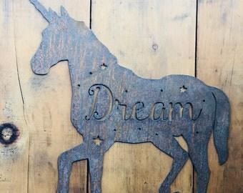 "Unicorn Dream - 12"" Rusty Metal Unicorn -  For Art, Sign, Decor - Make your own DIY Gift!"