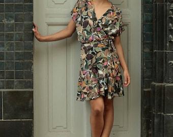Dress Julia, cotton dress, colorful dress, wrap dress, party guest dress, holiday dress, summer party dress, wedding dress