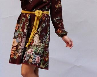 """""""Florentine"""" flower dress, floral dress, floral dress, Hippie dress, boho dress, balloon sleeves dress, festive dress"""