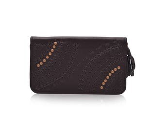 PEACOCK. Black leather wallet / black leather clutch / black wallet / travel wallet / boho wallet. Available in different leather colors