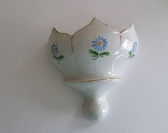 Floral China/ Porcelain Wall Pocket, Made  by Miklos, Hand Painted, Wall Decor, Home Decor,