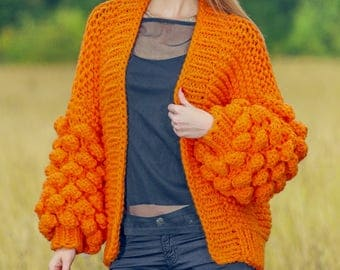 Chunky orange cardigan handmade with baby soft yarn by SuperTanya - S/M size