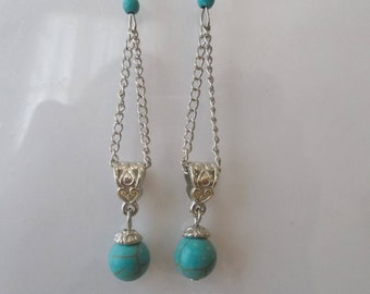 Silver Tone Chain Dangle Earrings with a Turquoise Bead on a Silver Tone Bail