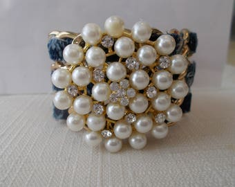 Gold Tone Cuff Bracelet With Black and Gray Ribbon Weaved Through with White Sea Shell Pearls  and Clear Rhinestone
