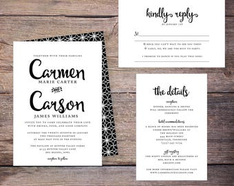 Classy Wedding Invitation Suite, Black and White, Modern, Classic, Invites, DiY Wedding, Print Yourself - Carmen