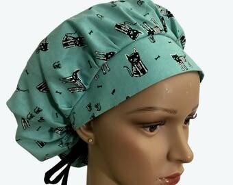 Bouffant Surgical Scrub Hat - Skeleton Black Cats on Turquoise bouffant scrub hat - Halloween Themed Ponytail Scrub hat - Custom Scrub Hat