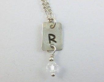 Hand Stamped Initial Charm Necklace With Swarovski Crystal