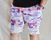 Glitchy Shorts! Stretchy Basketball Shorts with Drawstring and Pockets