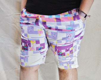 Glitchy Shorts! Stretchy Basketball Shorts with Drawstring and Pockets