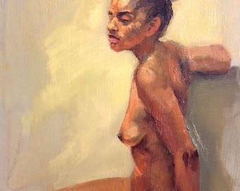 original oil painting 6x8 inch figure sketch