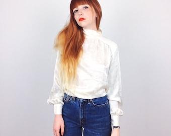 Gorgeous White Silky Satin Mock Neck Romantic Button Up Back Blouse Top // Women's size Medium M