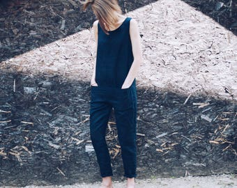 Linen Jumpsuit - Linen Overall - Navy Blue Linen Overall - Women Overall -  Handmade by OFFON