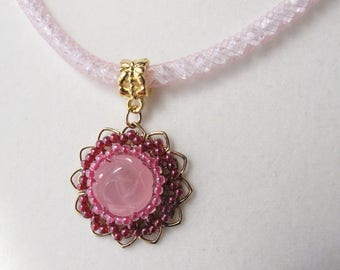 Pink Candy Jade Carved Rose Pendant on Adjustable Length Crystal Mesh Chain