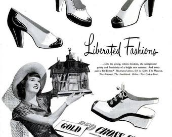 1946 Gold Cross Shoes Fashion Advertisement Vintage Stiletto High Heels Wingtip Spectator Pumps Black and White Glamour Wall Art Decor Print