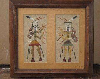 Vintage Navajo Native American Male and Female Yei Sandpainting