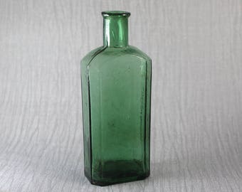 Small Vintage Dark Green Glass Rectangular Bottle Apothecary Medicine with Cork Style Top Hinge Moulded
