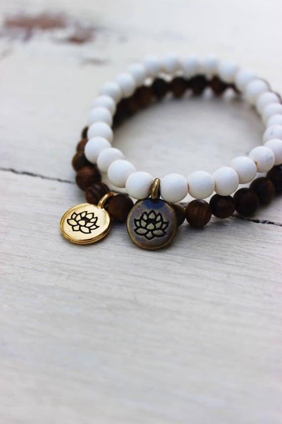 Mala Bracelet - Lotus Flower Charm