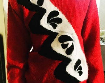 Vintage 1980s Abstract Sweater, Riva Designer, Red Black Rhinestone, Antique Alchemy