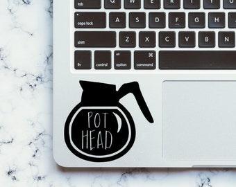 Pot Head Decal-Coffee Decal-Coffee Pot Decal-Coffee Addict-Love Coffee-Laptop Decal-Car Decal-Phone Decal-Yeti Decal-Sticker-Cheap Shipping