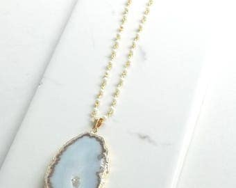 Agate Slice and Freshwater Pearl Gold Long Layering Necklace. Boho, Bohemian, Druzy