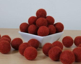 Felt Balls: RUST, Felted Balls, DIY Garland Kit, Wool Felt Balls, Felt Pom Pom, Handmade Felt Balls, Red Felt Balls, Red Pom Poms