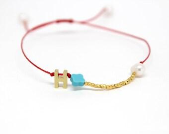 Initial and Gold Vermeil Bracelet - Turquoise Clover and Gold vermeil bracelet - Red Adjustable Friendship Bracelet