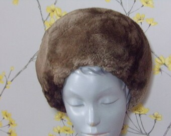 Vintage 1960s Real Fur Hat Brown Taupe Sheared Beaver Fur Hat Brown Fur Hat Edna Wallace