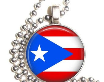 Puerto Rico Flag, Altered Art Pendant, Earrings and/or Keychain, Photo and Resin Charm Jewelry, Flag Earrings, Flag Key Fob