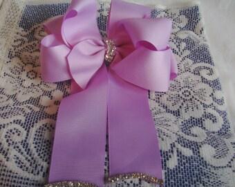 Lavender Hair Bow Barrette - Tails Down Puffy Bow Barrette - Lavender Bow - French Barrette - Blinged Bow Barrette - Large Bow Barrette