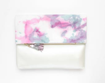 Dyed cotton clutch bag. Fold over clutch. Leather handbag. Statement purse. Hand colored. Simple daily purse.White metallic handbag. /MIA 70
