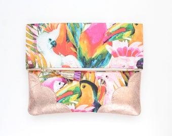Flower clutch bag. Fold over clutch. Leather handbag. Statement purse. Tropical print fabric. Metallic rosegold leather handbag/TROPICANA 39