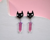 Cats and Swords Earrings - Black cat earrings - I like cats - Cat earrings - Daggers - Acrylic jewellery - Laser cut - Swords - Statement