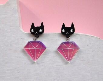 Cats and Diamonds Earrings - Black cat earrings - I like cats - Cat earrings - Diamonds - Acrylic jewellery - Laser cut - Swords - Statement