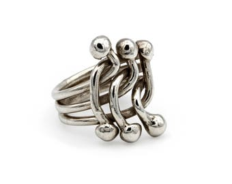 Stackable Rings, Interwoven 3 Strand Ring, Ring Size 7.5, Baroque Balls Ring, Triple Band Ring, 925 Sterling Silver, Friendship Womens Ring