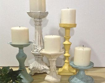 Shabby Chic Ornate Candle Holders, White/Yellow/Robin's Egg Blue, Set of 5 Pillar Holders, Cottage Chic French Inspired Table Top