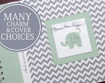 Baby Memory Book Gender Neutral | Boy | Girl | Baby's First Year Album Photo Book & Journal | Gray Chevron + Mint Green with Elephant Charm
