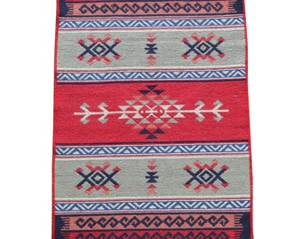 Small Kilim Rug - New Reversible Small Turkish Kilim Rug or Mat in Red, Blue and Grey - 96cm x 60cm