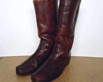 Vintage Brown Leather Motorcycle or Western Boots / US men's 10