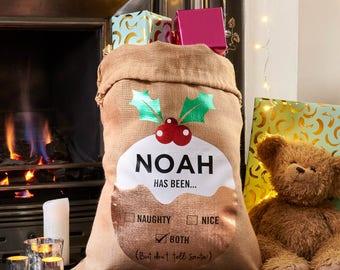 Personalised Christmas Pudding Large Hessian Santa Sack