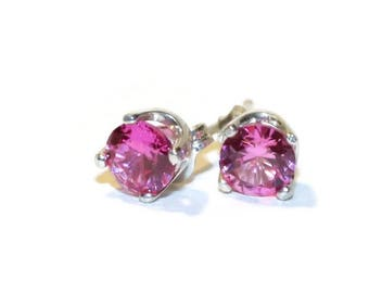 Pink Sapphire Stud Earrings, Sterling Silver Post Earrings, Earrings With Pink Stones