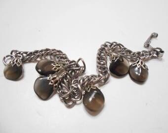 Vintage Smoke Gray Faux Stone Bracelet (2089)