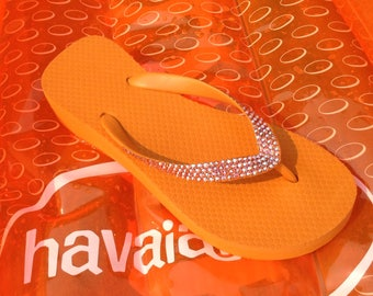"Custom Crystal flip flops w/ Swarovski Rhinestones Bright Orange Sun AB Jewels Cariris Brazilian Wedge 1.5"" Heel bling Sandals Thong Shoes"