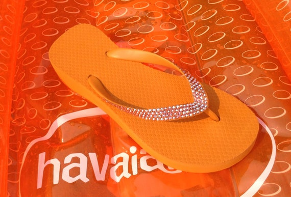 "Orange flip flops custom shoes Crystal Wedge sandals w/ Swarovski Rhinestone Jewels Cariris Brazilian Wedge 1.5"" Heel bling Thong Shoes"