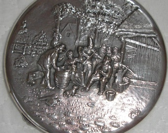 Danish Hans Jensen early silver repousse compact, Ladies mirrored compact, Edwardian style, silverplate, gift for her, collectible compact