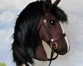 Hobby Horsing smaller bay hobby horse (stick horse) top quality with removable leather bridle. For younger children.