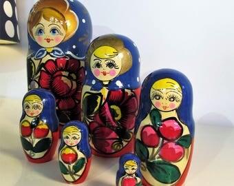 Vintage Large Russian Matryoshkas Nesting Dolls Babushka Doll Matryoshkas