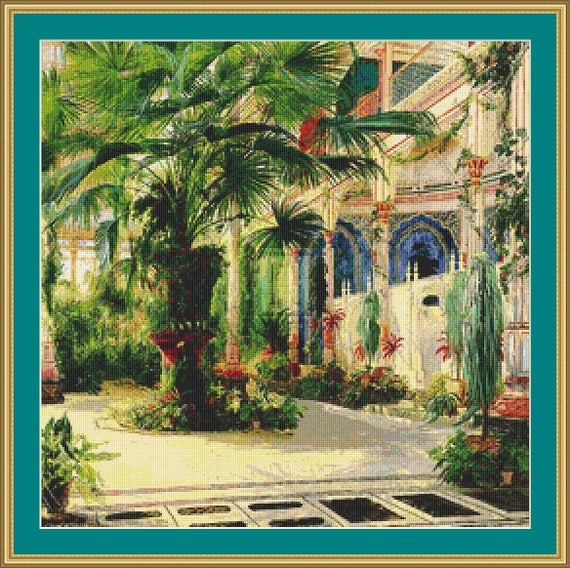 Interior Of Palm House At Potsdam Cross Stitch Pattern /Digital PDF Files /Instant downloadable